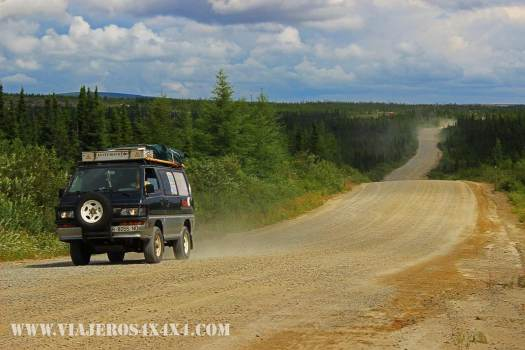La Cucaracha, the 4wd van of Around the World in 10 Years, on the TransLabrador Highway direction Newfoundland, Canada