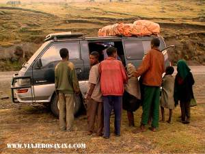 Overlanders are a magnet to people's curiosity in remote areas. Ethiopia