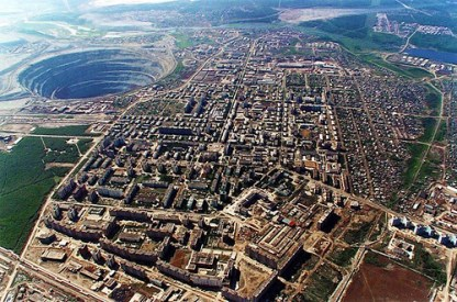 Abandoned Mir Diamond Mine in Russia 525 meters deep n 1200 meter