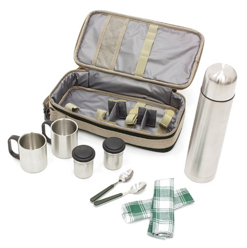 Greenfield Collection Luxury Flask Hamper Bag for 2-People, Forest Green 2