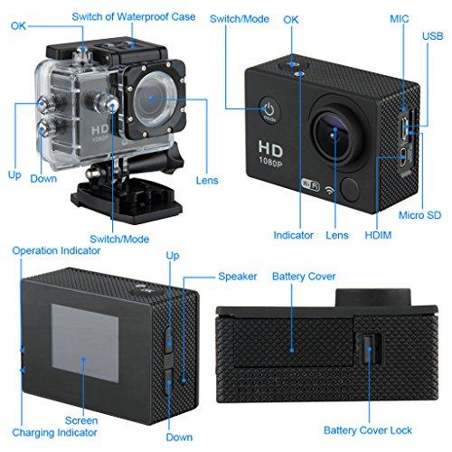 "Excelvan DV603E Cámara Deportiva( Multilenguje,12 MP, Impermeable 30M,WiFi, Patalla 1.5"" , Full HD H.264 1080P, Anti-sacudida, Carcasa) + Bateria Respuesto - Negro 2"