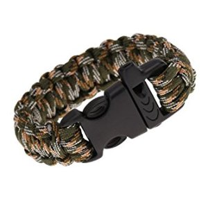 TOOGOO(R) Paracord Parachute Cord Emergency Kit Survival Bracelet Rope with Whistle Buckle Outdoor Camping Camo-4 5