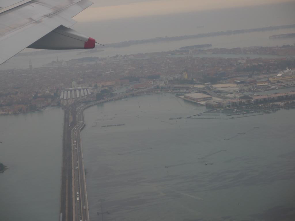 Venice railway auto bridge from the air