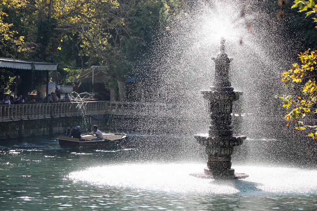 Rowing around tne fountain