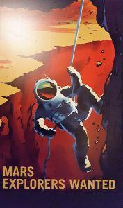 Cartel en la exposición sobre viajar a Marte