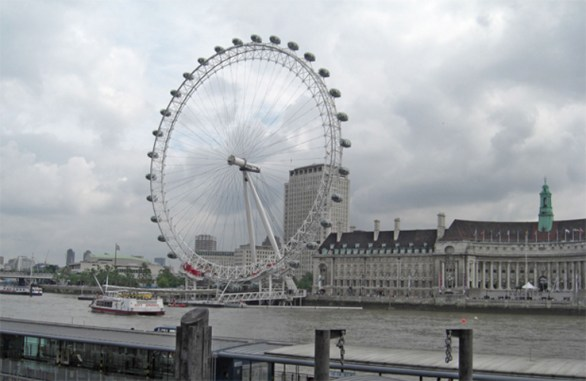 Vistas London Eye Noria Támesis lluvia Londres