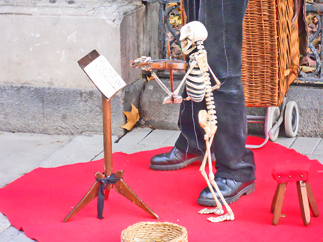 Marioneta calavera tocando violín Jardín Botánico Madrid