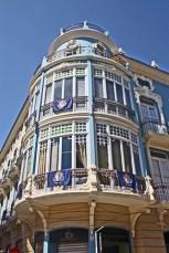 Edificio azul Modernismo calle colón Orihuela