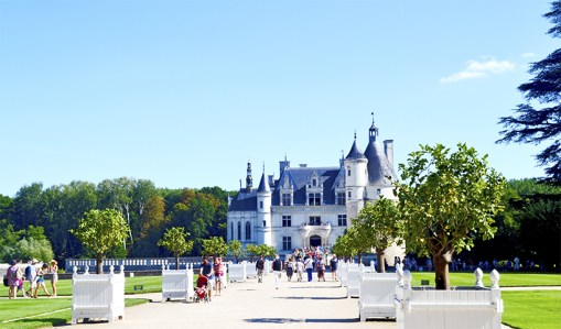 Entrada turistas jardines Castillo à Chenonceau