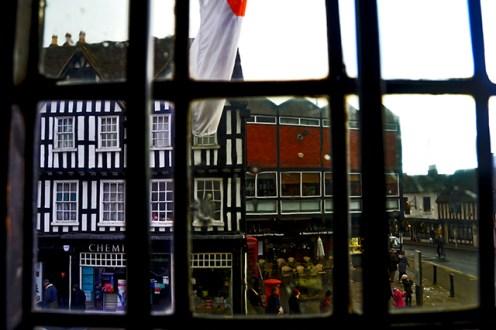 Vistas ventana edificio victoriano Harvard House Stratford-Upon-Avon