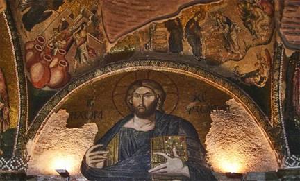 Mosaico bizantino Jesús pantócrator iglesia de San Salvador de Cora Estambul