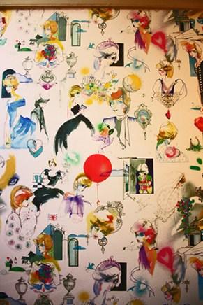 Mural ilustraciones Diana de Gales Palacio Kensington Londres