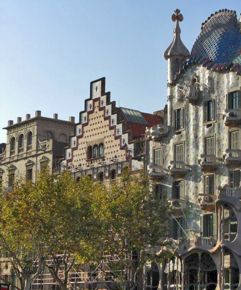 Fachadas manzana de la discordia Paseo de Gracia Barcelona