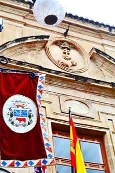 Estandartes bandera plaza del Arco Caravaca de la Cruz Murcia