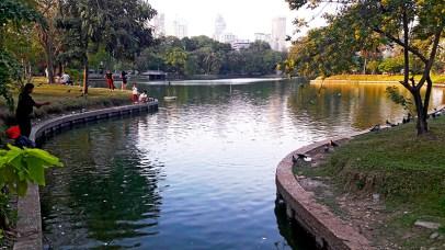 Lago y rascacielos parque Lumpini Bangkok