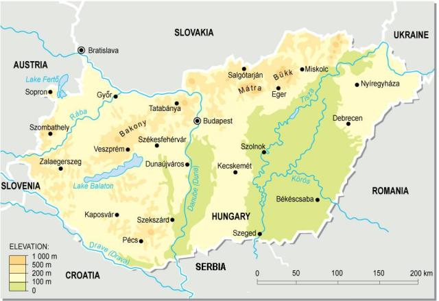Mapa Hungría ilustración