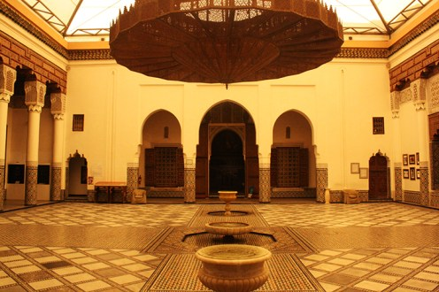Patio interior fuente abluciones Madraza Ben Youssef Marrakech