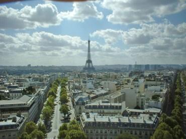 Vista panorámica Torre Eiffel París desde Arco Triunfo