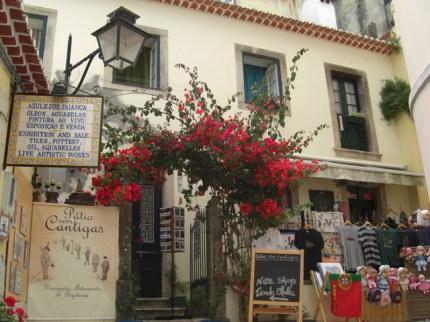Plaza típica flores y azulejos Sintra