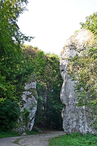 Rocas gemelas entrada bosque Garrote Hércules Parque Nacional Ojców Polonia