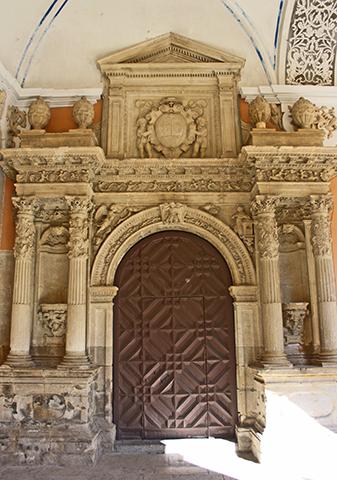 Fachada decoración barroca sacristía Colegio Santo Domingo Orihuela Alicante