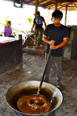 Removiendo pasta de coco Tailandia