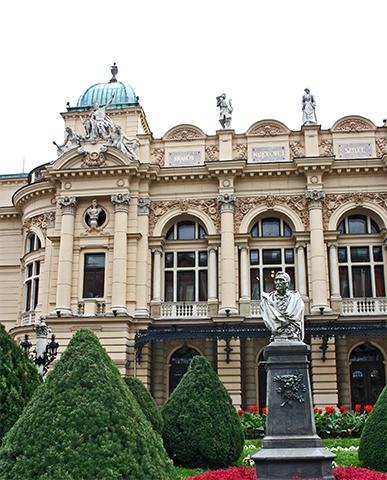 Plaza ópera escultura fachada teatro Juliusza Słowackiego Cracovia