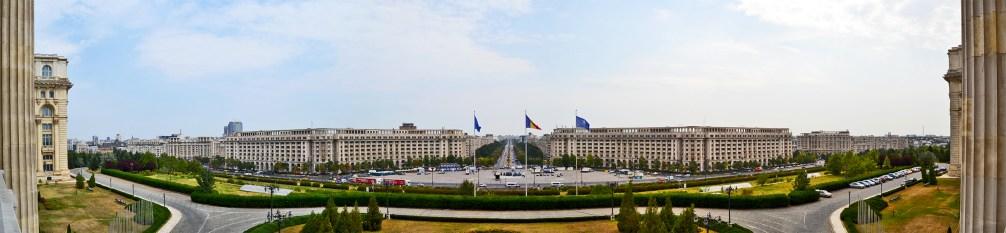 Panorámica Ceausescu balcón Parlamento rumano de Bucarest