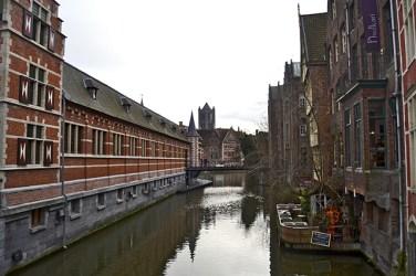Canales río Leie Gante Flandes
