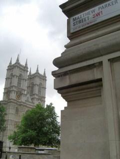 Placa calle vistas Abadía Westminster Londres