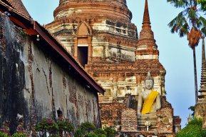 Buda sentado chedi templo Ayutthaya