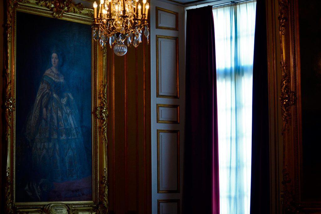 Sala privada estancia cuadro reina lámpara Palacio Real Drotttningholm