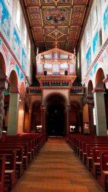 Órgano principal frescos pasillo central Abadía benedictina Gengenbach