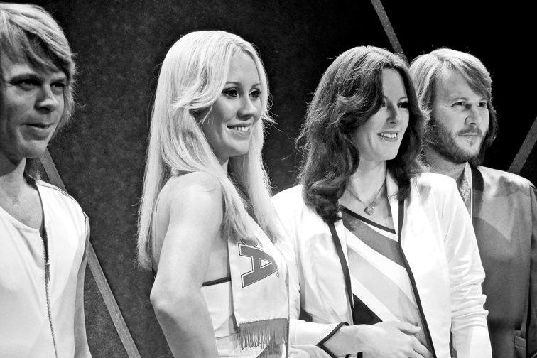 Cantantes Abba cera Museo ABBA Estocolmo blanco y negro
