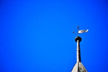 Veleta metal bandera antena edificio centro histórico Rottweil