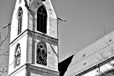 Torre iglesia Kapellenturm Rottweil blanco y negro