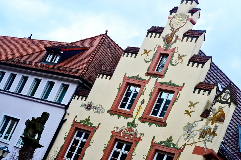Perspectiva mural fachada barroca centro histórico Offenburg Alemania
