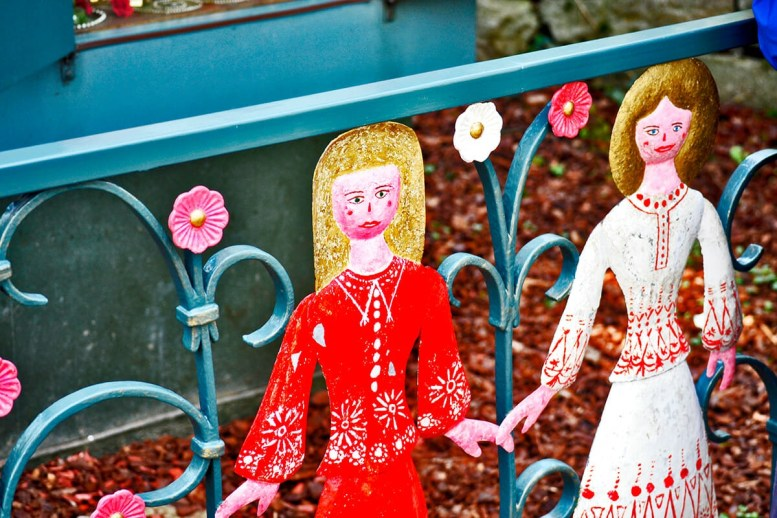 Doncellas princesas decoración metal valla Märchengarten Ludwigsburgo Alemania