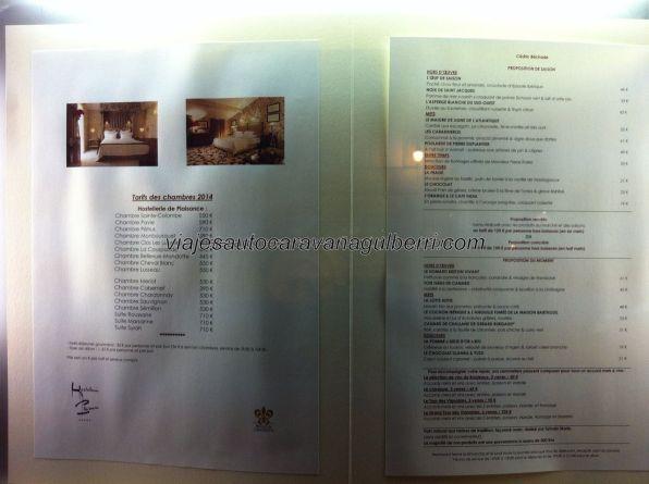 carta del restaurante y del château 5*: menús entre 120-150€, a los que ha de sumarse el vino, de 50€ en adelante; habitaciones entre 500-700€/noche