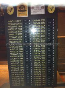 una lista de precios en un magasin du vin local