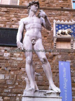 el David de Miguel Angel (copia, original en la Gallería della Academia), modelo de perfección anatómica, a la puerta del Palazzo Vecchio