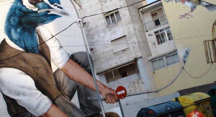 pavo real graffiti la bañeza
