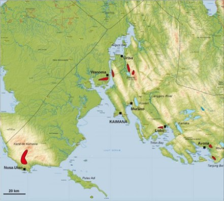 Mapa de las localidades de muestreo de aves en la Vogelkop de Nueva Guinea: Lobo y Urisa cerca de Kaimana, y las Montañas Kumawa en el suroeste.