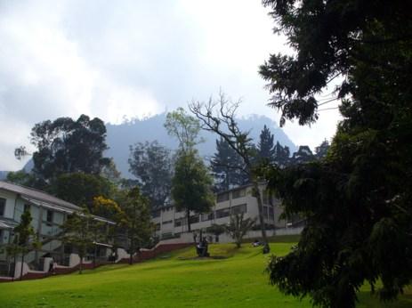 Campus de la Universidad de los Andes, Bogotá, donde pasamos gran parte de nuestro tiempo. Al fondo el cerro Montserrate (3200 m de altitud). (Foto: Ana-Maria Hereş)