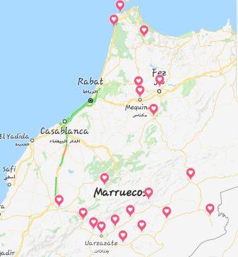 Ruta Autocaravana Marruecos Octubre 2018. Mapa Marruecos. Itinerario: Tanger, Chefchaouen, Fez, Meknes, Volúbilis, Er-Rachidia, Merzouga, Alnif, Tinerhir, Kelaa M'Gouna, Skoura, Ouarzazate, Agdz, Tamnugalt, N'Kob, Aït Ben Haddou, Marrakech, Ouzoud, Azrou, Asilah.