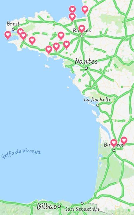 Mapa Ruta Autocaravana Bretaña francesa + Vino de Burdeos. St. Emilion, Rochefort - En - Terre, Josselin, Vannes, Carnac, Pont Aven, Quimper, Pointe du Raz, Locronan, Dinan, St. Maló, Mont St. Michel, Rennes, Burdeos.