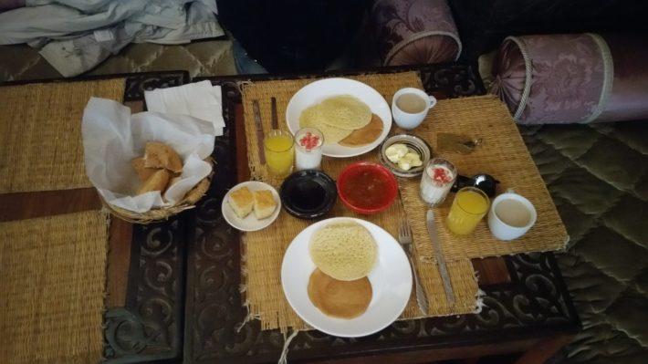 Desayuno en el Riad, Marrakech (Marruecos)