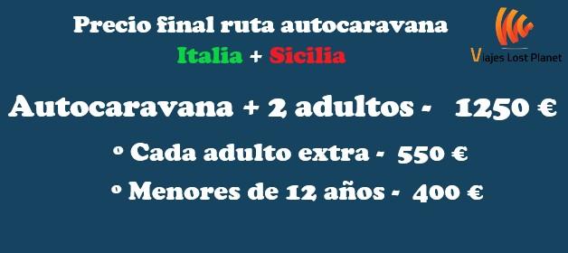 Cuadro ruta Italia y Sicilia precios