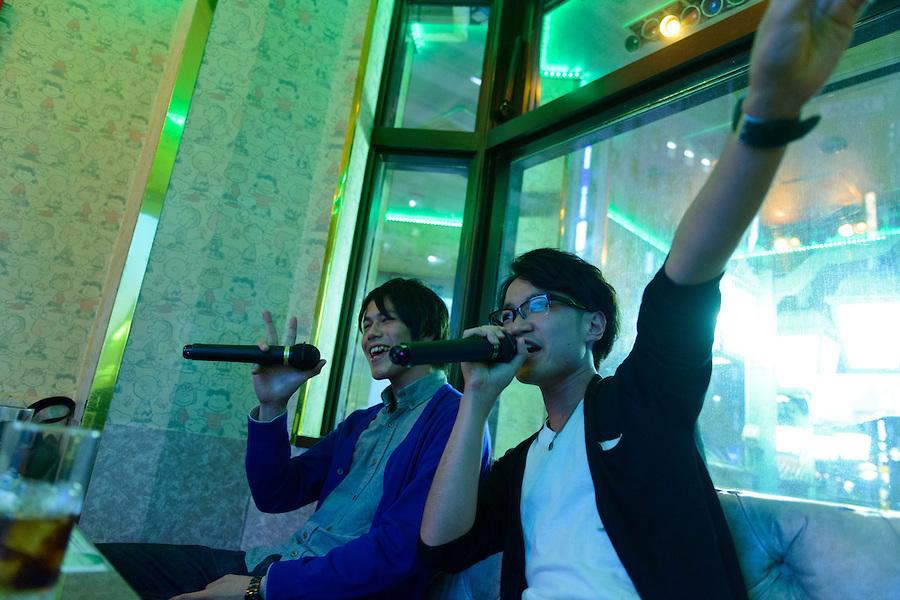 Karaoke boxes, Shinjuku, Tokyo, Japan, October 25, 2012.