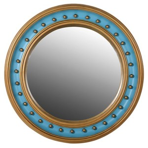 Turquoise and gold convex mirror